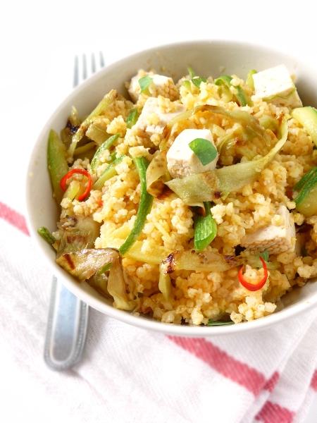 insalata di miglio, tofu, zucchine