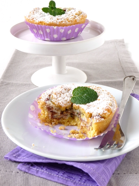 tarts with ricotta, mint and chocolate